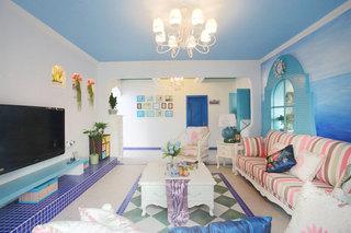 地中海风情 清爽蓝白配客厅设计