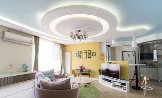 清新地中海风情客厅 环形吊顶设计
