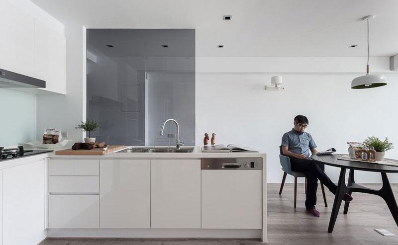 简约风开放式厨房 白色橱柜设计