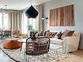 清新洋气的混搭风格 98平两居室装修效果图