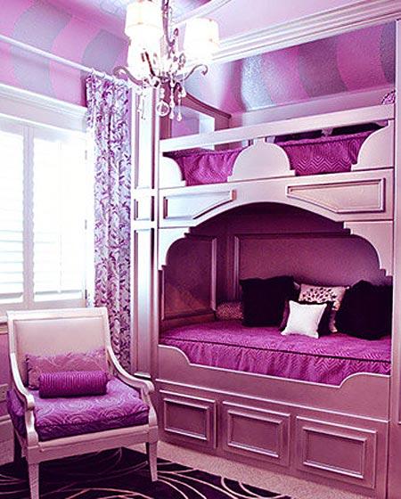 梦幻紫罗兰欧式儿童房效果图