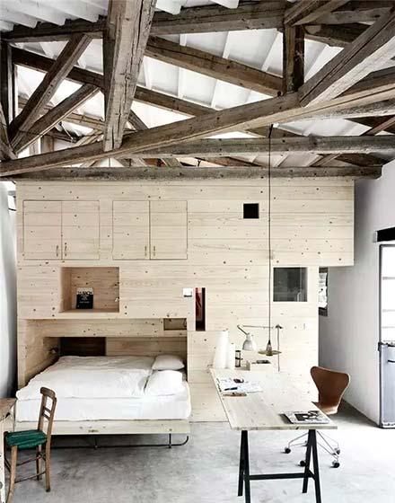 复古卧室木质吊顶图片