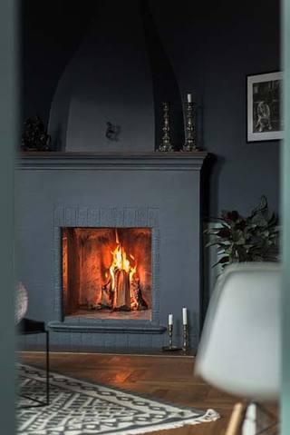 高级灰色壁炉装修效果图