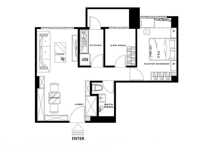 52平房子装修设计图