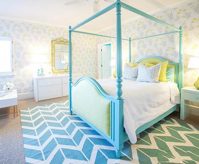 海蓝色简欧风卧室效果图