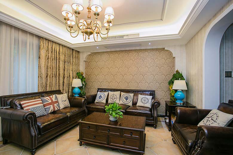 复古美式客厅 实木家具效果图