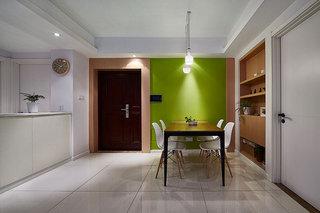现代简约风餐厅 草绿色背景墙设计