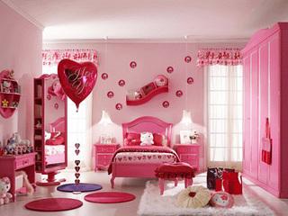 甜美桃粉色简欧风 KITTY主题卧室设计