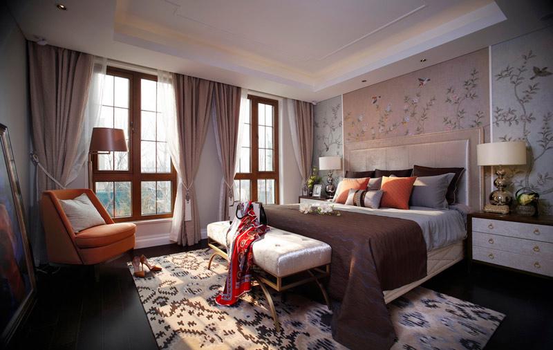 唯美典雅新中式卧室效果图