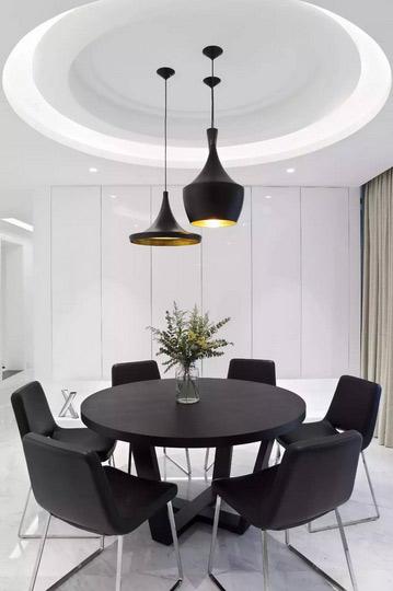 黑白现代风餐厅 圆形吊顶效果图