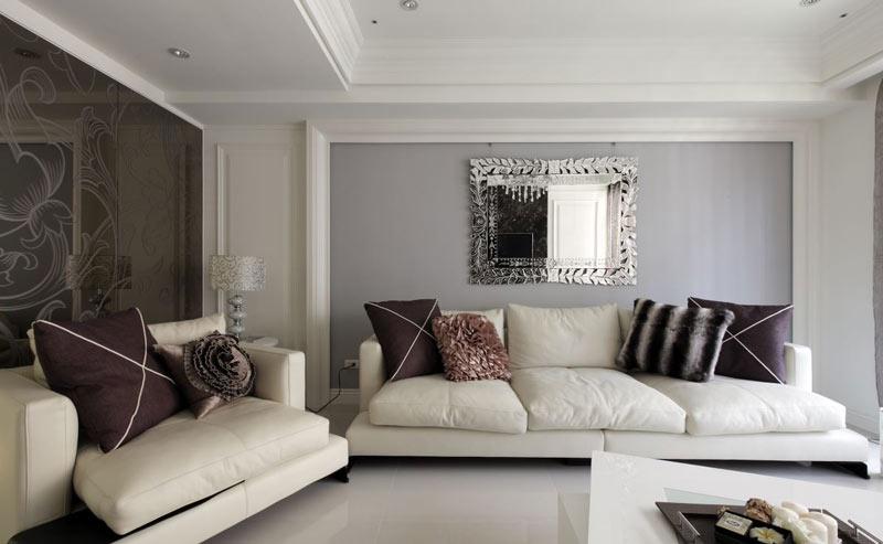 浅紫色沙发背景墙效果图