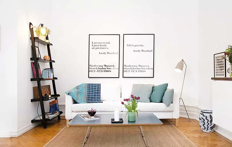 清新北欧风客厅 沙发背景墙效果图图片