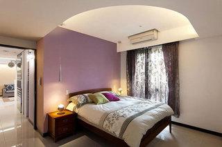 浪漫紫简约风卧室 紫色背景墙设计