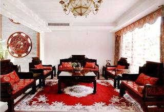 中式红色客厅图片