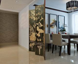 中式餐厅屏风装修效果图