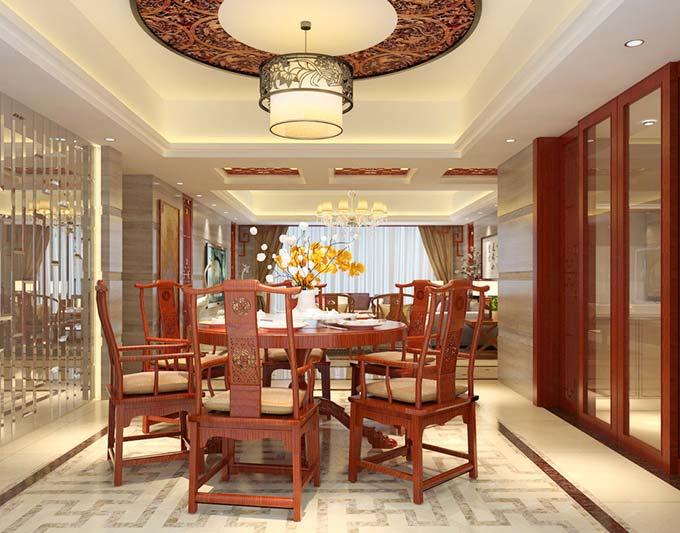中式餐厅吊顶效果图图片