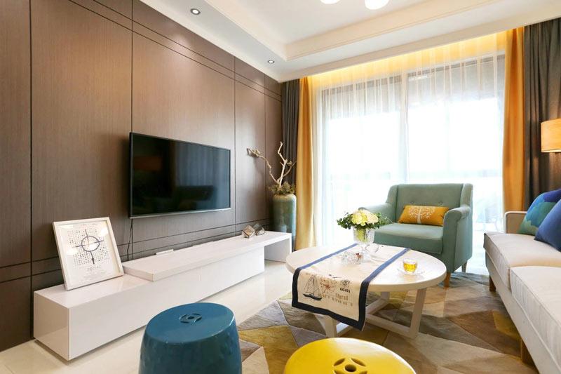 简约棕色电视背景墙装修效果图