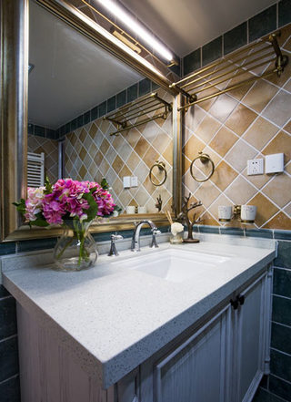 美式风格怀旧洗手台装修效果图
