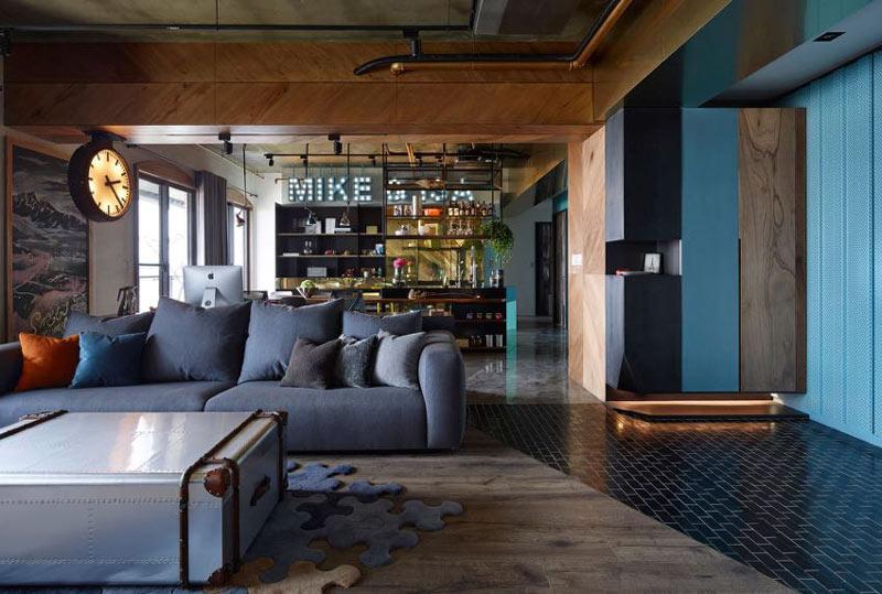工业风公寓客厅过道装修效果图