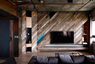 工业风公寓电视背景墙装修效果图