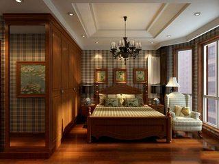木色格子卧室装饰图