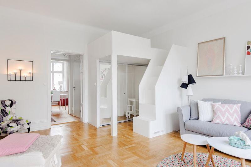 粉白色公寓客厅吊顶装修效果图