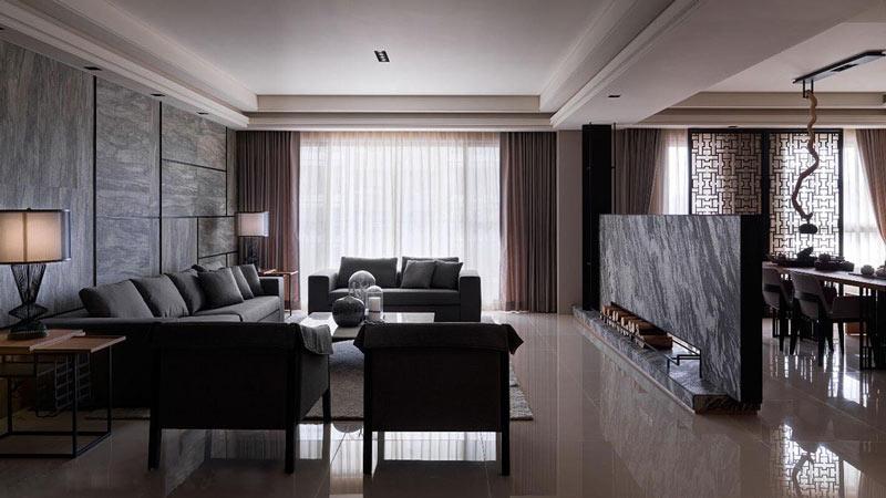 灰色系简约中式客厅效果图