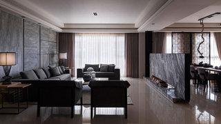 中式风格灰色客厅装修效果图