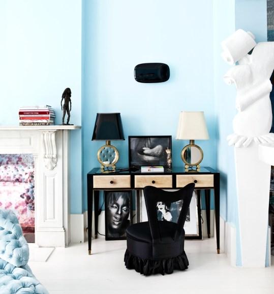 蓝白色客厅小书房装修效果图