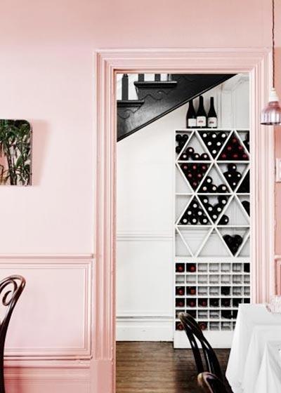 北欧风餐厅水晶粉背景墙设计