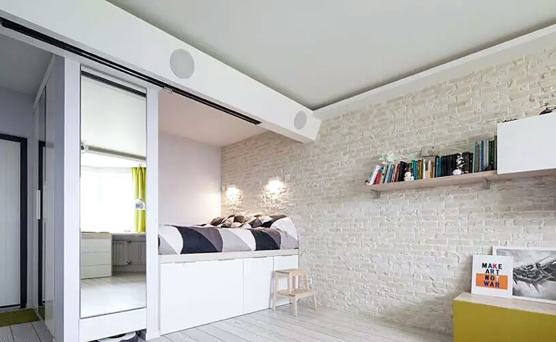 文艺北欧风卧室 文化砖背景墙设计