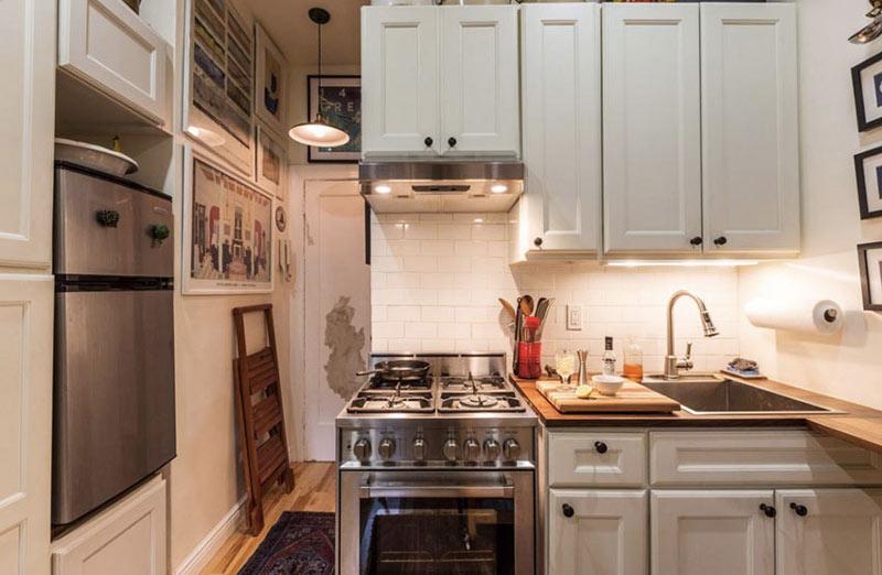美式风格开放式小厨房装修效果图图片