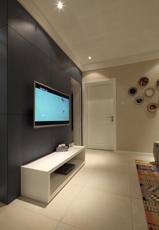 黑色现代风客厅电视背景墙设计