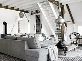 黑白调的艺术美 92平跃层两居室装修图片