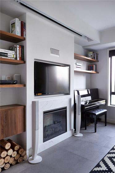 北欧风格小户型客厅电视背景墙装修图片
