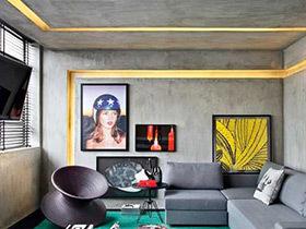 色彩的魔力 86平工业风格单身公寓装修图