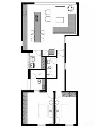 86平单身公寓平面图