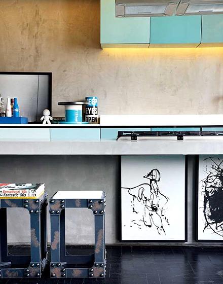 86平单身公寓厨房吧台设计