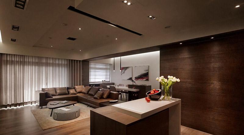 新中式风格简洁客厅吊顶装修设计图片