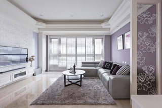 浪漫美式紫色客厅装修效果图