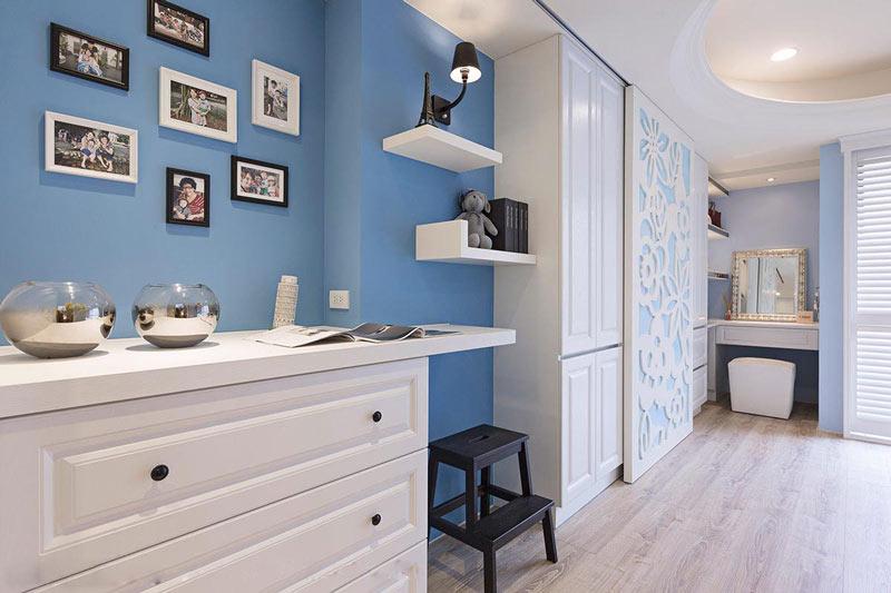 活泼蓝色照片墙背景墙装修效果图