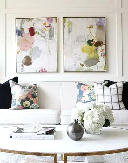 田园风格客厅沙发背景墙装饰画