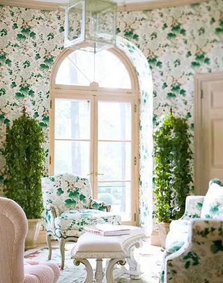 清新田园风格客厅壁纸图片