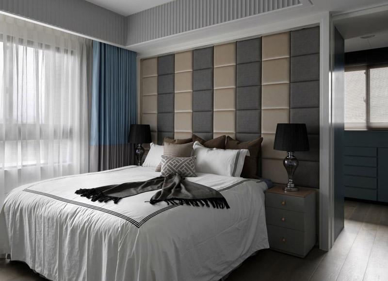 现代简欧风 灰色系软包卧室效果图