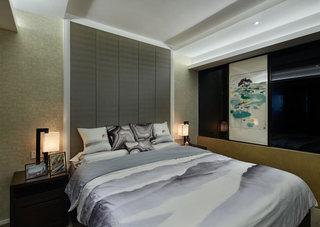 新中式大气卧室背景墙装修效果图
