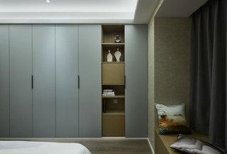 新中式蓝灰色卧室衣柜装修效果图