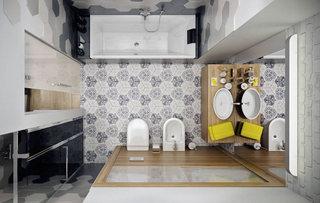 清新灰白色花纹卫生间瓷砖效果图