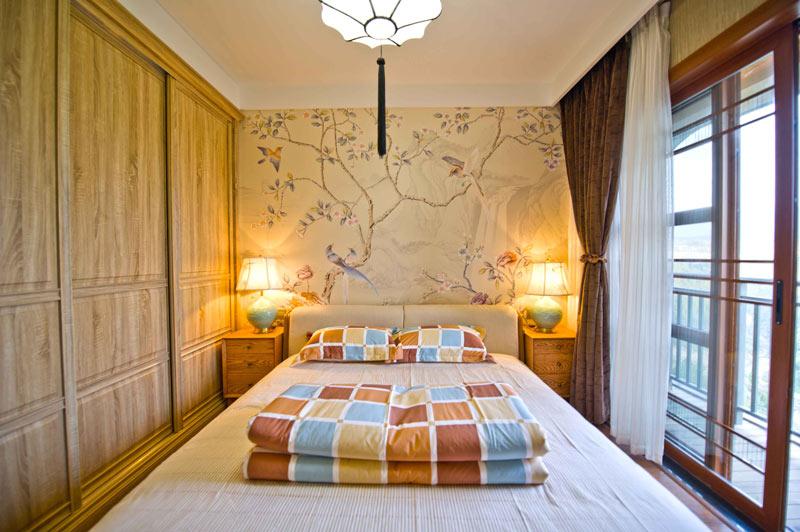 中式新古典卧室背景墙效果图