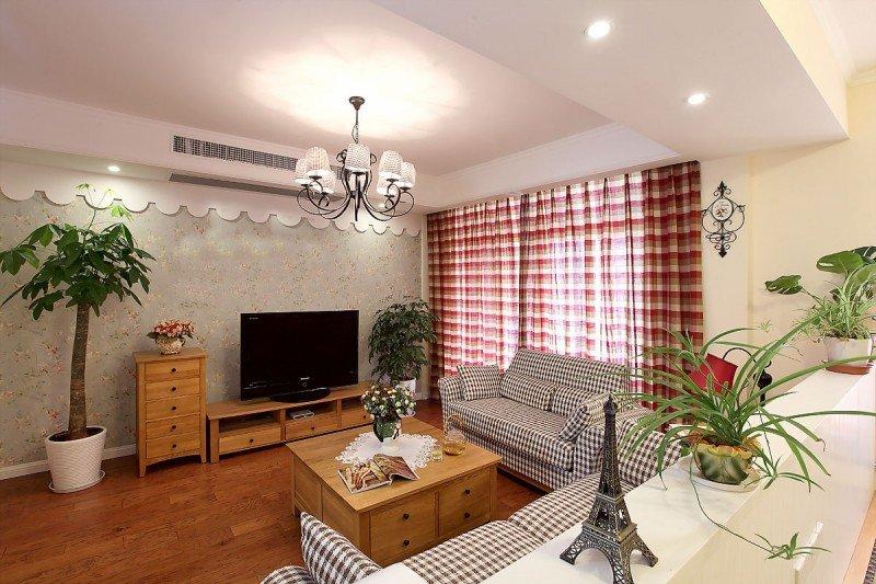 田园风格简单客厅吊顶装修效果图