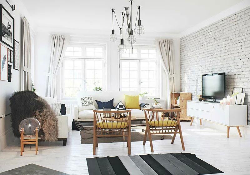 北欧风格明亮客厅吊顶装修效果图